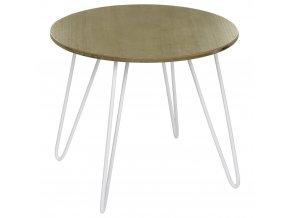 Kulatý kávový stolek nakovových nožkách, stolek nakávu, stolek doobývacího pokoje, stolek pokoje, bílý stolek, kovový stolek