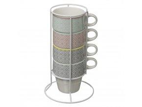 Sada 4 barevných porcelánových šálků nastojanu, hrnečkyna kávu, hrnky nakávu porcelánové hrnečky, barevné hrnečky, hrnečky na stojanu