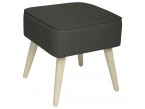 Čalouněný taburet s dřevěnými nožkami, dřevěný stolek, skandinávský taburet, čalouněný stolek, taburet do předsíně