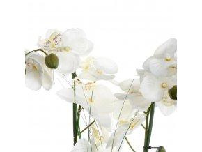 Umělá orchidej v keramickém květináči, vkusná květová dekorace, která ozdobí každý pokoj