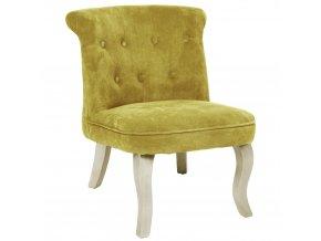Čalouněné křeslo žluté barvy, židle křeslo, malé křeslo, prošívané křeslo, křeslo do ložnice, glamour křeslo, křesla do pokoje
