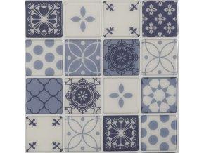 Nálepky na dlaždičky modré a šedé barvy, nálepky na stěnu do kuchyně, nálepky do koupelny, dekory na zeď