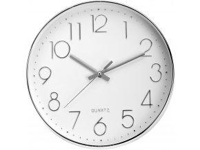 Kulaté nástěnné hodiny, ručičkové, stříbrné - Ø 30 cm