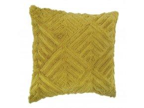 Ozdobný povlak na polštář žluté barvy, dekorativní polštář, dekorativní povlak, kožešinový polštář, ozdobné polštáře