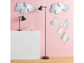 Sada 3 ozdobných zrcadel, zrcadlo kosočtverce, dekorativní zrcadla, zrcadla na stěnu, zrcadlo v rámu, závěsná zrcadla, moderní zrcadla