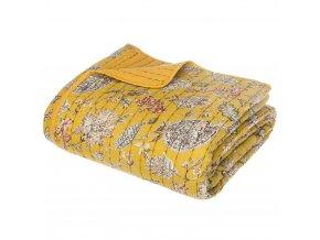 Přehoz na postel, barva hořčicová, květinový vzor, z opačné strany hladký bez vzoru, bavlna, polyester, viskóza, 220x260 cm