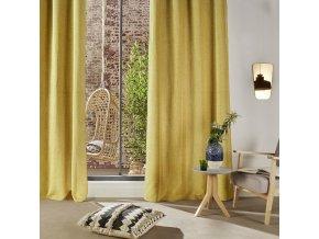 Stylový závěs Chenil, netuctová hořčicová barva, vyroben zodolného polyesteru, 260x140 cm, dokonale zatemní interiér