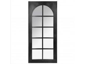 Stylové vitrážové nástěnné zrcadlo orozměrech 52x112 cm, rozdělené na okénka uspořádaná dooblouku, rám včerné barvě