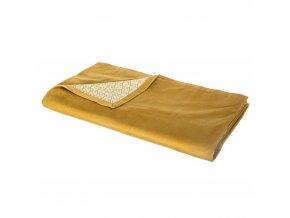 Přehoz na postel, barva hořčičná, z jedné strany vzorovaný, zopačné strany hladký, bez vzoru, materiál\bavlna, polyester, 140x260 cm