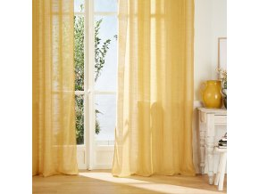 Dekorační závěs orozměrech, barva žlutá, skovovými provlékacími kroužky, otvory napověšení, jemné zastření