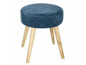 Praktický taburet, stolička, čalouněný, na dřevěných nožkách, tmavě modrá barva