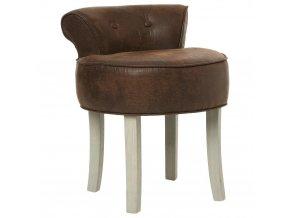 Měkká čalouněná stolička FIRMIN stolička k toaletnímu stolku - umělá kůže, hnědá barva