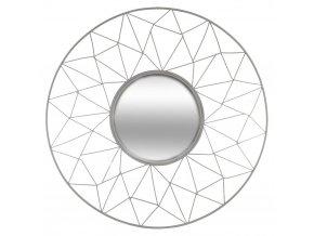 Kulaté zrcadlo vozdobném rámu stylizované dokvětiny, zrcadlo na stěnu, zrcadlo vestříbrném rámu, zrcadlo glam, dekorativní zrcadlo