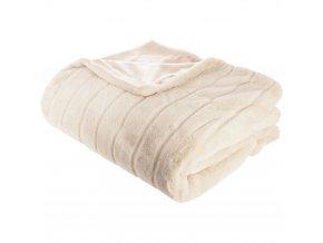 Heboučký elegantní přehoz na postel vbarvě ecru svylisovanými proužky