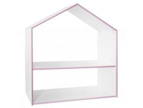Bílý regál ve tvaru domečku se dvěma policemi, růžovým lemováním a šesti barevnými plastovými krabicemi vpastelových barvách
