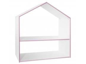 Bílý regál ve tvaru domečku se dvěma policemi, růžovým lemováním