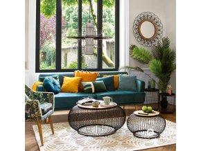 Kulatý a sametový polštář DOLCE VITA modré barvy