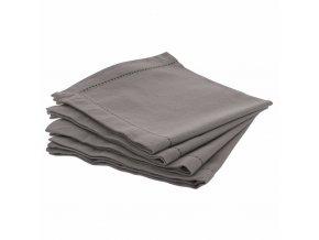 Sada 4 bavlněných ubrousků CHAMBRAY v tmavě šedé barvě