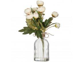 Váza s kyticí umělých šedých růží