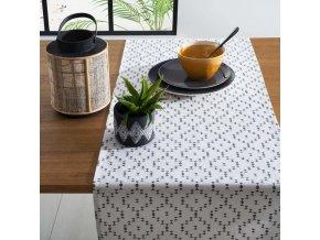 Sada 2 kontrastních bavlněných utěrek s geometrickým vzorem v barvách džínové a bílé