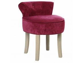 Stolička s opěradlem, pohodlný čalouněný taburet v glamour stylu