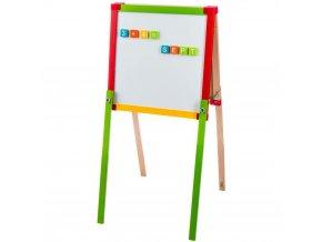 Tabule pro děti, oboustranná, stojací prostor pro zábavu a učení s příslušenstvím.