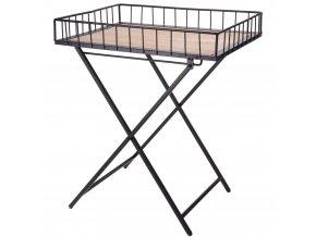 Dekorační kovový kávový stolek v černé barvě, 50x42x31,5 cm