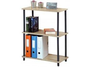 Dřevěná police na knihy na kovovém rámu, univerzální regál do pokoje nebo obývacího pokoje