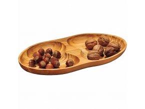 Dřevěný servírovací talíř s přepážkami, unikátní ozdobný podnos z dřeva olivovníku