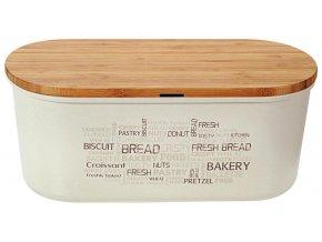 Bambusová chlebovka s krájecím prkénkem v krémové barvě, stylový a praktický box na pečivo