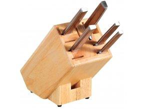Stojánek na nože a brousek, objemný blok na nože z odolného a trvanlivého kaučukového dřeva