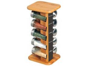 Otočný stojánek na koření z bambusu, objemná a praktická polička na koření s 10 skleničkami