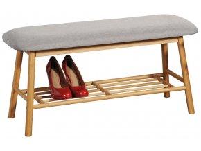 Bambusový botník s čalouněným sedátkem, pohodlná lavička a stojan na boty v jednom