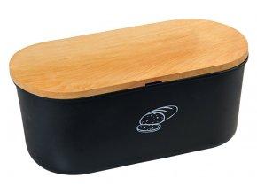 Černá chlebovka s krájecím prkénkem z bukového dřeva, designový box na pečivo z melaminu.
