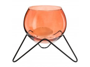 Svícen ve formě otevřené koule na kovovém rámu, kouzelná dekorace v jemné, cihlové barvě