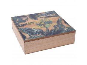Krabička na šperky, dřevěný organizér na drobnosti s módním potiskem listů
