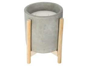 Vonná svíčka s citronovým aroma, velká ozdobná svíčka v cementovém svícnu