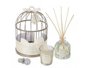 Aromalampa a ozdobná svíčka v dekorativní klícce, dárková sada se skořicovou vůní