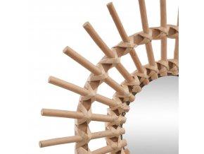 Kulaté zrcadlo slunce v proutěném rámu, dekorativní závěsné zrcadlo v rustikálním stylu