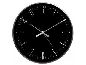 Černé závěsné kulaté hodiny s tichým strojkem, 4x33 cm