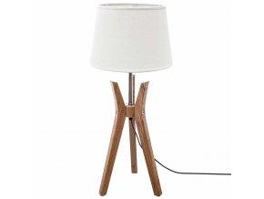 Lampa trojnožka s lněným stínítkem bílé barvy, designová stolní lampa na bambusovém podstavci