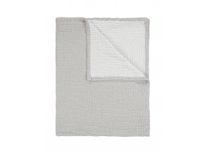 Přikrývka šedá bavlněná, dekorativní pléd, 100% bavlna, Essenza