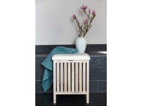 Koupelnová stolička a koš na prádlo 2v1, bílá, ve skandinávském stylu, OSLO WENKO
