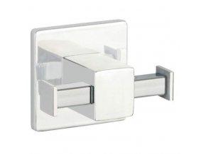 Nástěnný věšák od firmy WENKO se dvěma rameny ve stříbrné barvě, ideální pro kuchyně a koupelny