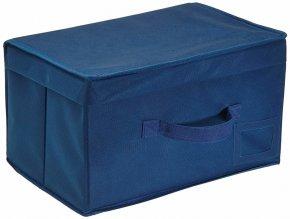 Materiálová odkládací schránka v tmavě modré barvě, organizátor o rozměrech 34 x 19 x 24 cm
