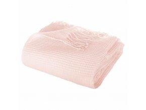 Přehoz s třásněmi velikosti 150 x 125 cm ve světle růžové barvě je vyroben z akrylu