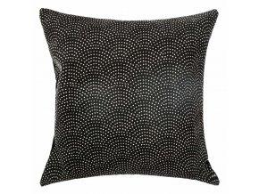 Dekorační polštář černé barvy se vzorem, velikosti 60 x 60 cm, ušitý z bavlny a polyesteru