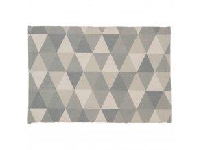 Koberec z bavlny, polyesteru a viskózy, s jednoduchým úpletem s geometrickým vzorem v šedých odstínech