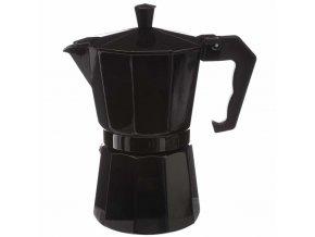 Moka Express černé barvy, vyrobený z hliníku, umožňuje připravit 6 šálku kávy