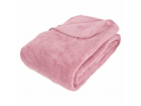 Fleecový pléd růžové barvy, měkká dečka příjemná na dotyk - 180 x 230 cm